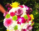 White Hydrangea, Bombay orchids, Pink Roses Yellow , Yellow Spray Roses