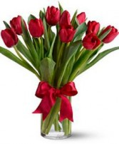 Valentine Tulip Vase Fresh PEI grown tulips in a vase in Charlottetown, Prince Edward Island | Hearts and Flowers