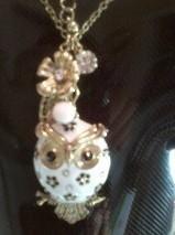 04 owl necklace & earrings