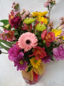 """SWEET SURPRISE""  Bright mixed arrangement in a vase!!"