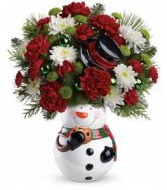 Snowman Cookie Jar Christmas Arrangement