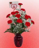 1 Doz. Carnations Vase arrangement