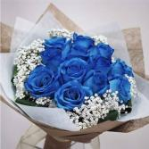 1 Dozen Blue Roses with baby breath in a Vase **PRE-ORDER 3- 5 DAYS ADVANCE**