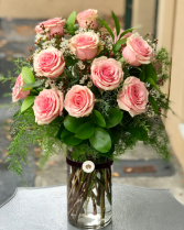 1 Dozen Colored Roses Deluxe  Vased Arrangement