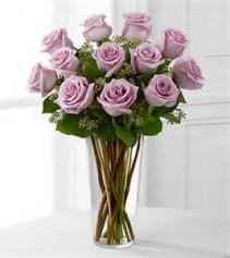 1 Dozen Lavender roses Vase Arrangement