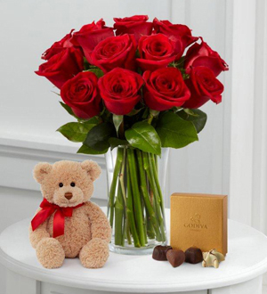 1 Dozen Long Stem Red Roses with Bear & Godiva® .WGF422-N