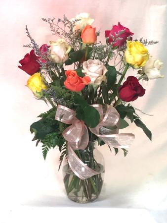 1 dozen mixed roses vase