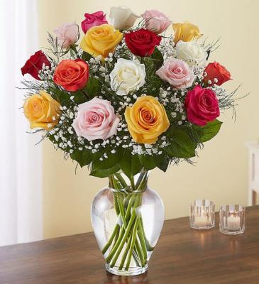 1 ½ Dozen Multicolor Roses Vase Arrangement