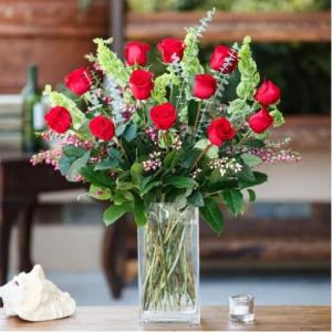 1 Dozen of Our Premium Long Stem Roses arranged Red Rose Arrangement in Charlotte, NC | Plush Blooms of Charlotte
