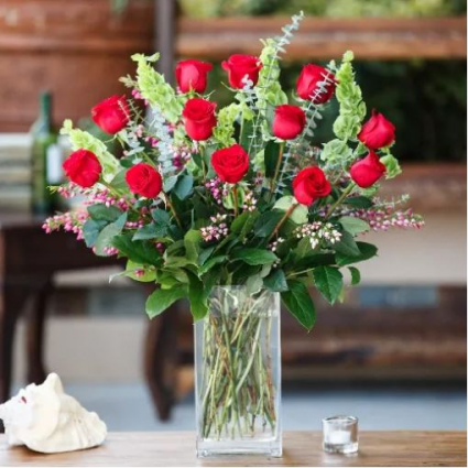 12 Ways to Say I Love You Roses Vased