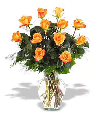 1 dozen Orange Roses  Fresh Floral Arrangement