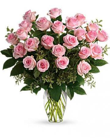 Two Dozen Sweet Pink Roses Vase Arrangement