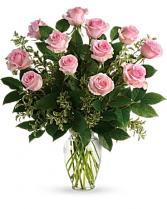 1 Dozen Sweet Pink Roses Vase Arrangement