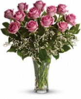 1 Dozen Pink Roses Vased Arrangement