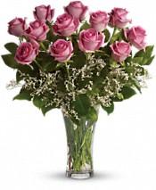 1 Dozen Pink Roses Vased Arrangement