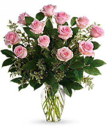 1 Dozen Pink Roses Vased Pink Roses