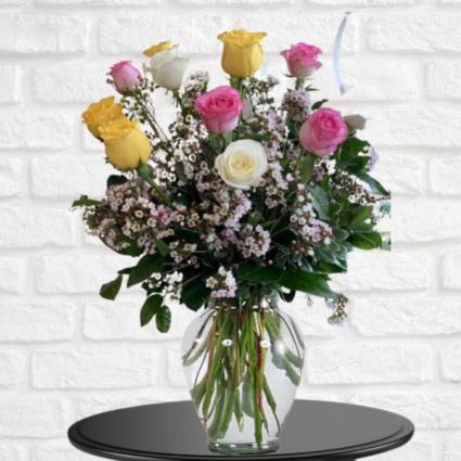 1 Dozen Pink, White & Yellow Roses