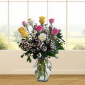 1 Dozen Pink, Yellow & White Roses