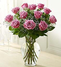 1 dozen Purple Roses vase