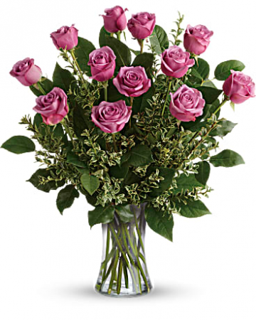 1 Dozen Purple Roses Vased Roses