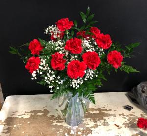 1 Dozen Red carnations Carnations in Garner, NC | BLOOMIES ON 42 LLC.