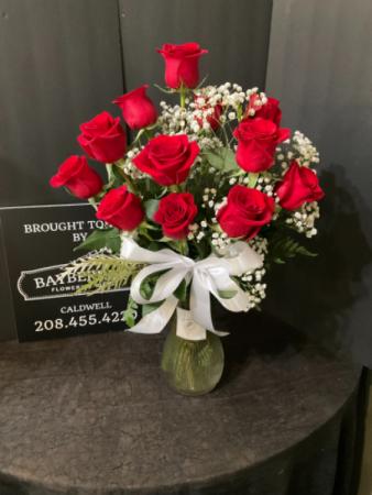 1 Dozen Red Rose Vase Bouquet