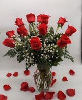 1 Dozen Red Roses, Medium Stem Rose Arrangement