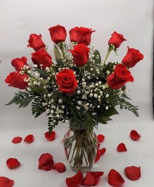 1 Dozen Red Roses, Medium Stem Rose Arrangement in San Antonio, TX | Bloomshop