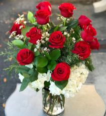 1 Dozen Red Roses Premium  Vased Arrangement