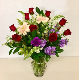 1 Dozen Red Roses Red Rose with Mix floral in Plainview, TX | Kan Del's Floral, Candles & Gifts
