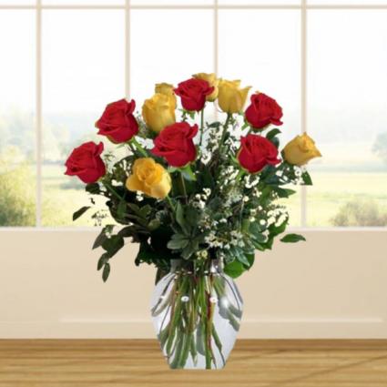 1 Dozen Red & Yellow Roses