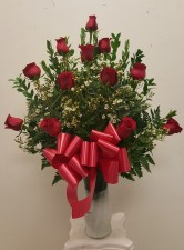 1 dozen roses in a glass vasel(White,H.LPink.Yello Birth Day