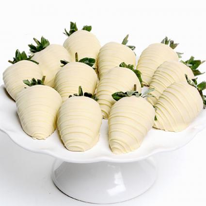 1 Dozen White Chocolate Dipped Strawberries fruit