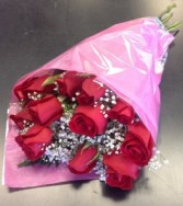1 Dozen Wrapped Medium Red Roses (Deluxe) Wrapped Bouquet