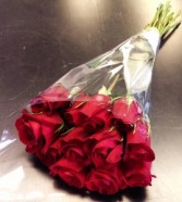 1 Dozen Wrapped Medium Red Roses Wrapped Bouquet