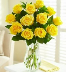 1 Dozen Yellow Long Stem Roses by Enchanted Florist