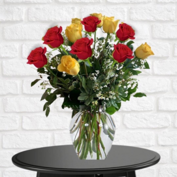 1 Dozen Yellow & Red Roses