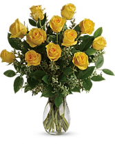 1 Dozen Yellow Roses Vased Yellow Roses
