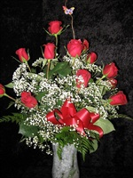 1 dz. Premium Red Roses Long stemmed, arranged