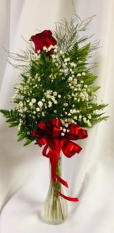 1 Long Stem Rose Bud Vase
