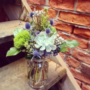 Botany Boho Emerald Mason Jar Arrangement