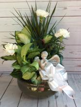 """10"""" Ceramic Dish Gardern W Bow & Angel"""