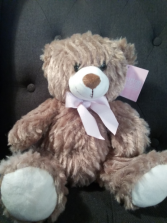 """10"""" Sitting Brown Bear with pink bow"""