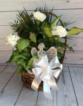 "10"" Wicker with bow, fresh flowers & angel"