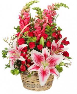 100% Lovable Basket of Flowers in Holbrook, MA | WHITE FLOWERS & GIFTS