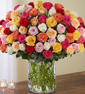 100 Premium Long Stem Mixed Colors Roses Vase Arrangement
