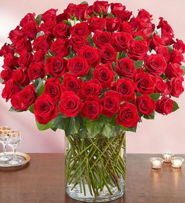 100 Premium Long Stem Red Roses All-around arrangement