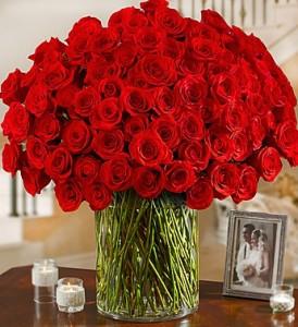 100 Premium Long Stem Roses by Enchanted Florist