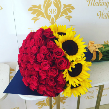 100 Premium Roses and 8 Sunflowers Bouquet Paper Wrapped