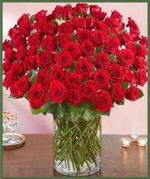 100 Premium Roses In A Vase Item #95672